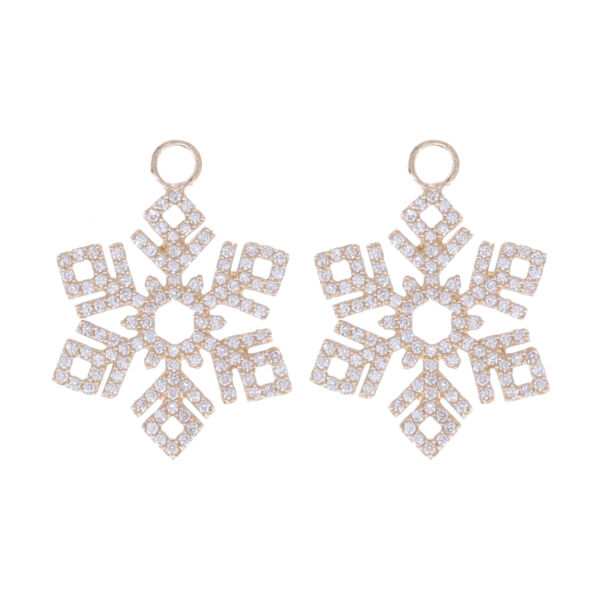 Closeup photo of 14k Yellow Gold and Diamond Snowflake Earring Charm