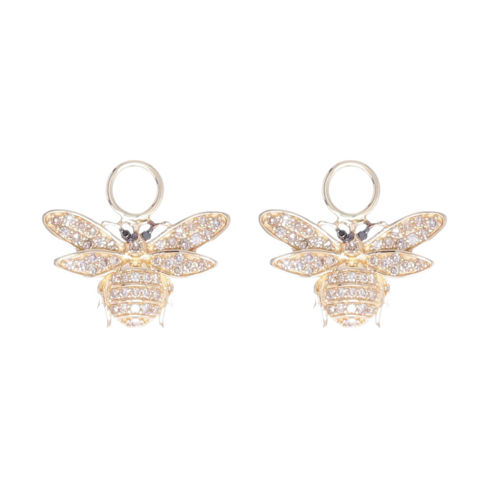 14k Yellow Gold Diamond Small Bee Earring Charms