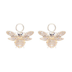 Closeup photo of 14k Yellow Gold Diamond Small Bee Earring Charms