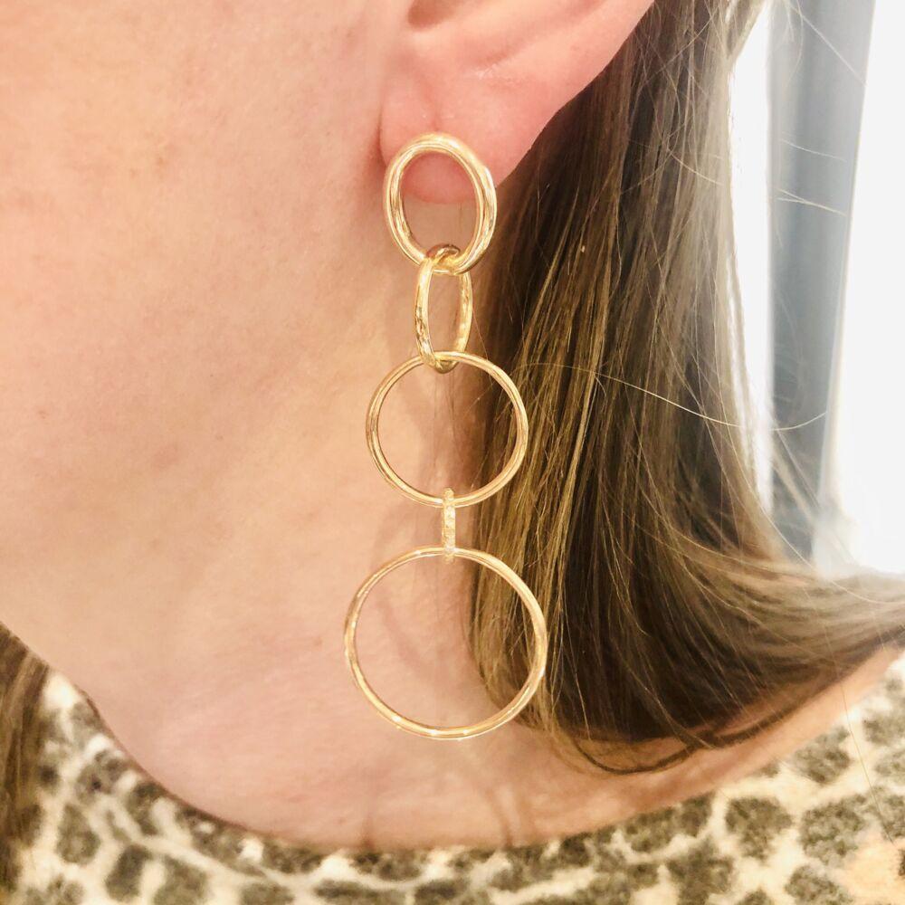 14k All Gold 5 Ring Diamond Earrings