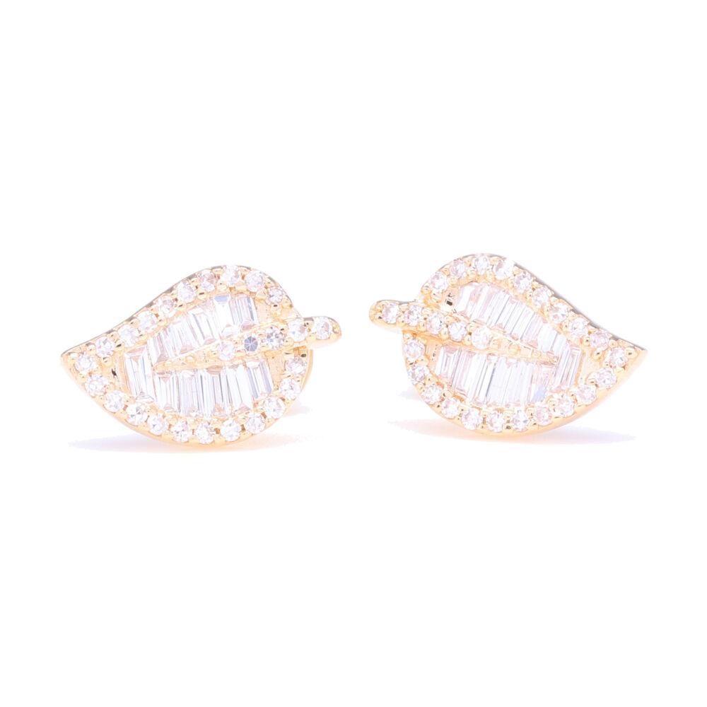 Baguette Diamond Leaf Stud Earrings
