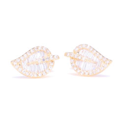 Closeup photo of 14k Gold Baguette Diamond Leaf Stud Earrings