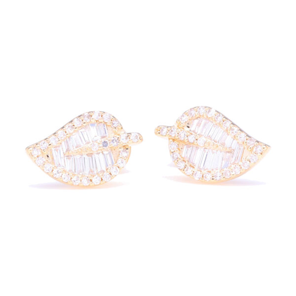Closeup photo of Baguette Diamond Leaf Stud Earrings