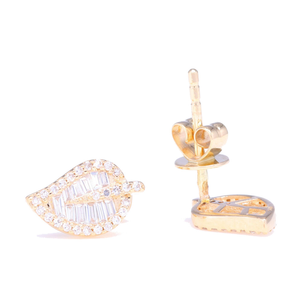 Image 2 for Baguette Diamond Leaf Stud Earrings