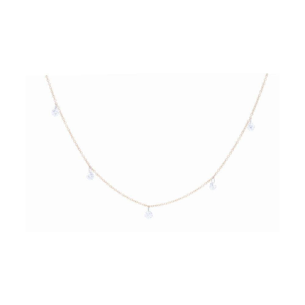 14k Yellow Gold Dangling Diamond Bead Necklace