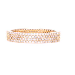 Closeup photo of 14k Yellow Gold 4 Row Pave Diamond Stack Ring