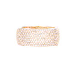 Closeup photo of 14k Yellow Gold 9 Row Pave Diamond Band