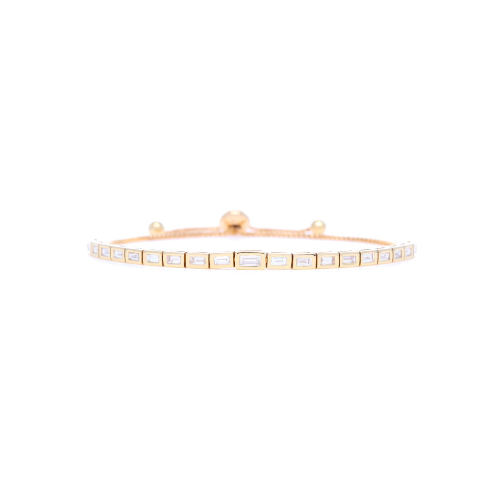 14k Yellow Gold Step Cut Diamond Bolo Bracelet
