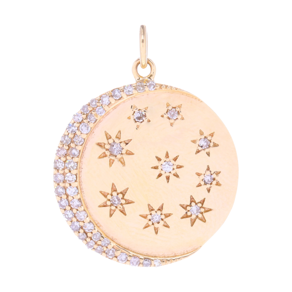 Closeup photo of Diamond Crescent Moon and Stars 14k Gold Medallion Pendant