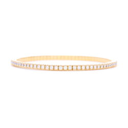 Closeup photo of Italian 18k Gold Flexible Prong Set Diamond Bracelet