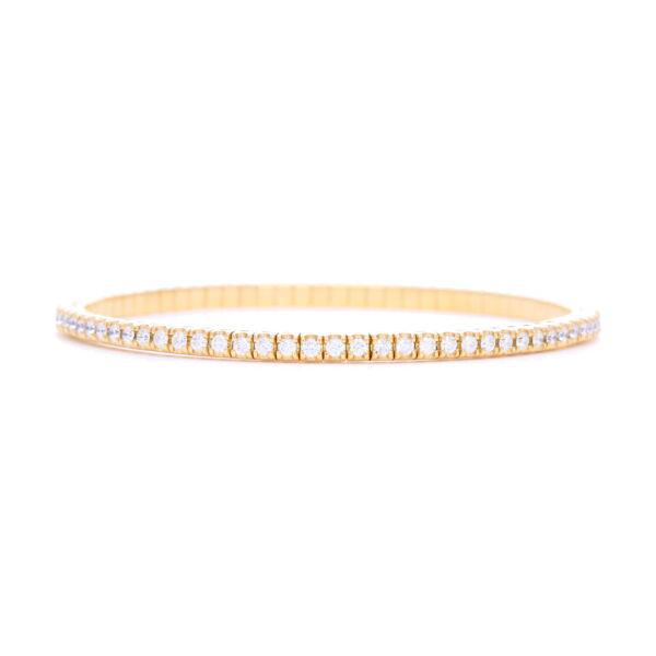 Closeup photo of Italian 18k Gold Flexible Prong Set Diamond Bracelet
