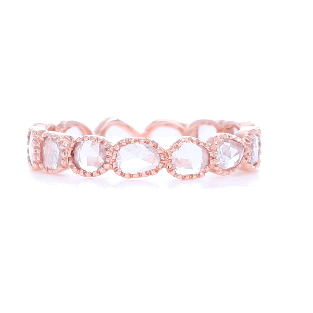 """Maya"" White Diamond Rose Cut Band In 18k Rose Gold"