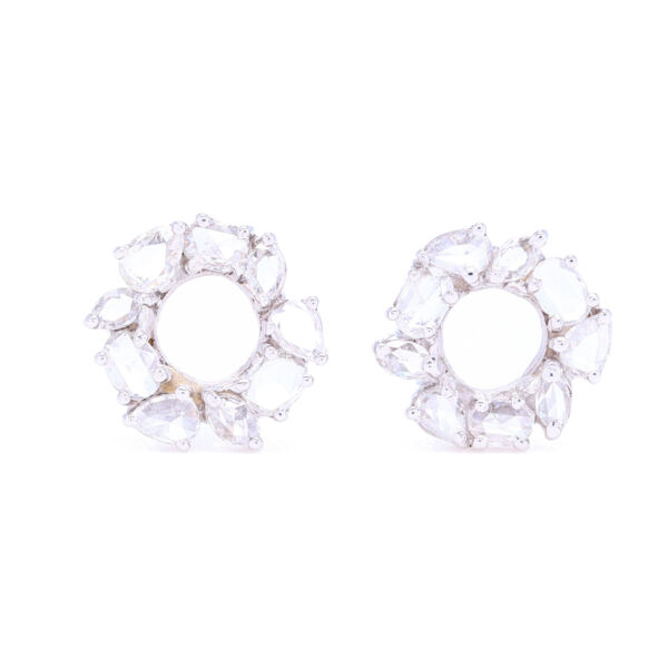 Closeup photo of Mix Shaped Rose cut Diamond Earrings in