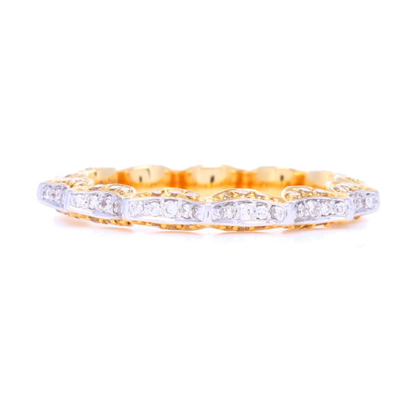 "Closeup photo of 2 Tone ""Taj"" Yellow & White Diamond band in 18k Yellow/White Gold"