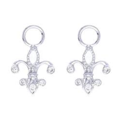 Closeup photo of 18k White Gold Fluer-de-lis Rose Cut Diamond Earring Charms