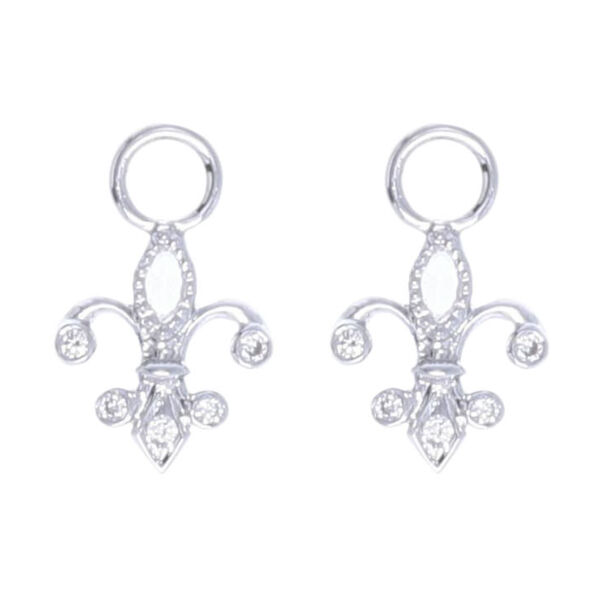 Closeup photo of 18k White Gold Fluer-de-lis Rose Cut Diamond Earring Charms