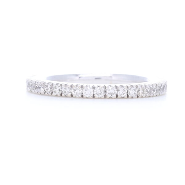 Closeup photo of White Diamonds Prong set in 18k White Gold Eternity Stack Ring