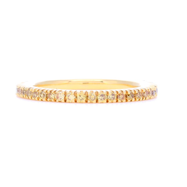 Closeup photo of Brilliant Cut Yellow Diamond Yellow Gold Prong Set Band in 18k