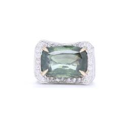 Closeup photo of 18k White Gold Elongated Cushion Cut Green Tourmaline with Diamonds