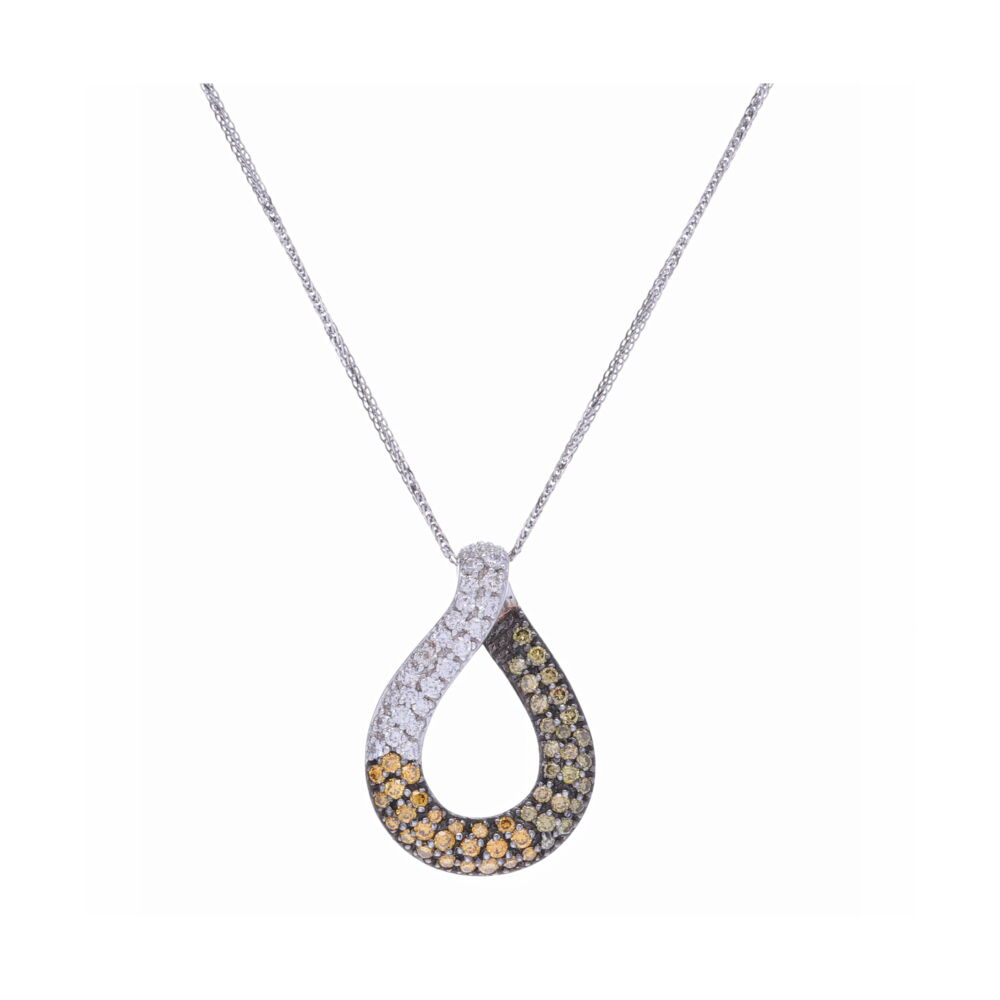 Loop Pendant with Ombre Diamonds in White, Yellow, Green, and Brown set in 18k