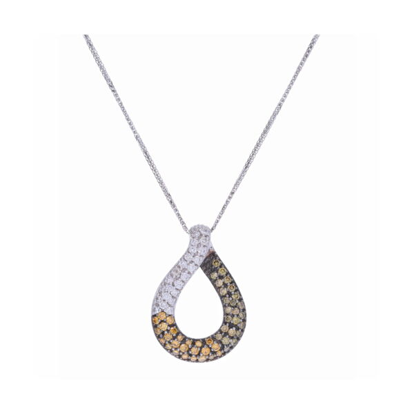 Closeup photo of Loop Pendant with Ombre Diamonds in White, Yellow, Green, and Brown set in 18k
