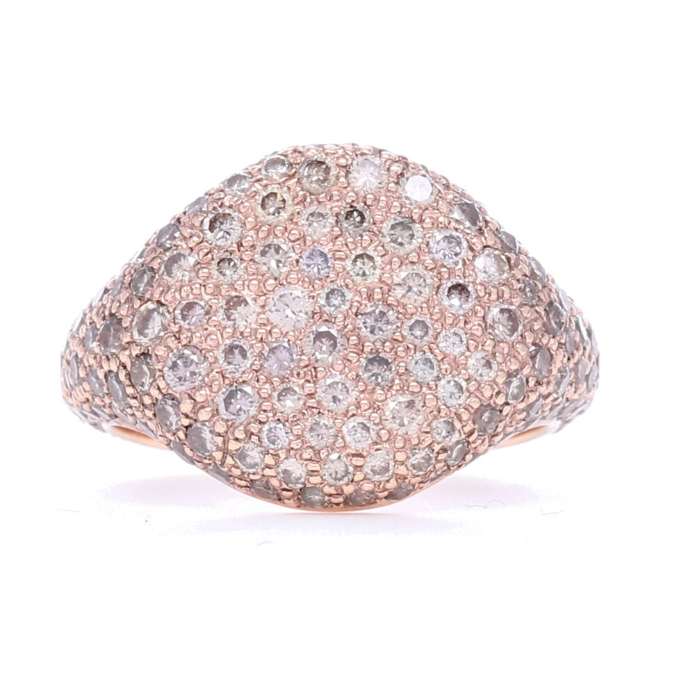 Pave Champagne Diamond Pinky Ring in 18k Rose Gold