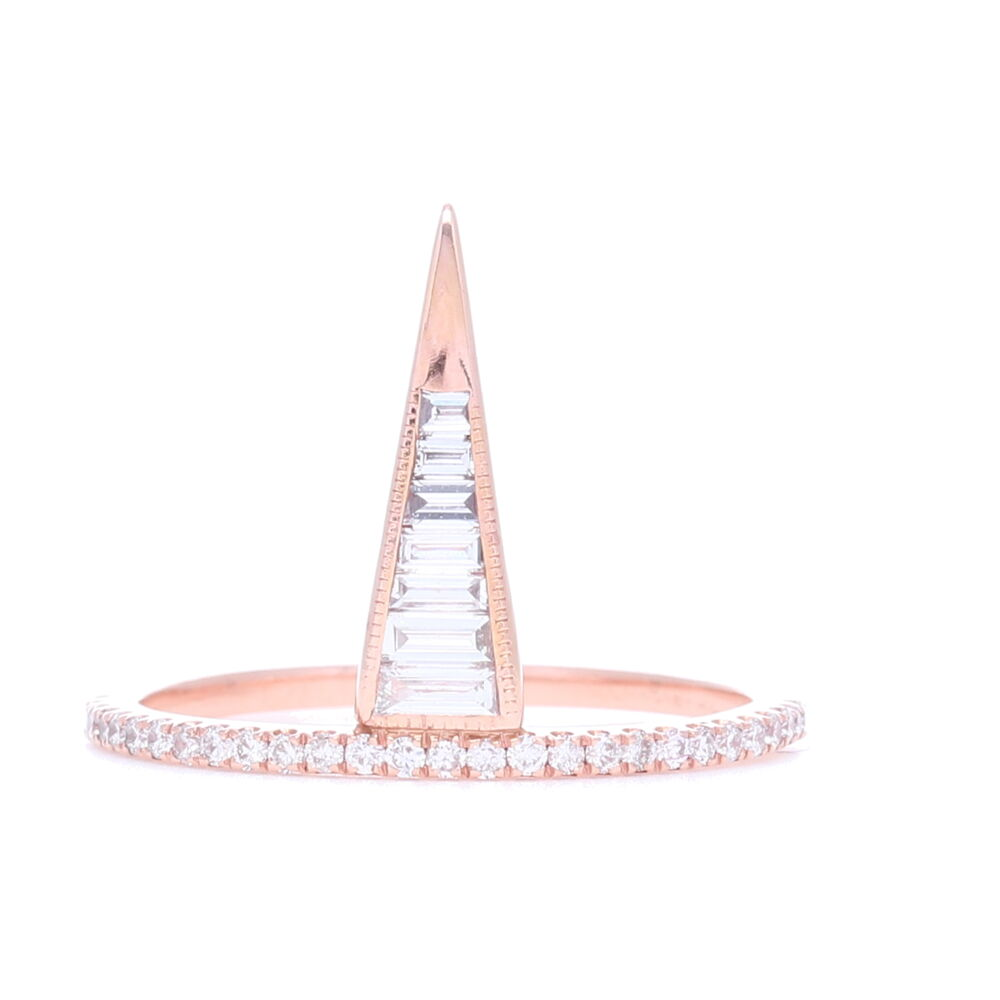 18k Rose Gold Step Cut Diamond Ring with Pave Shank