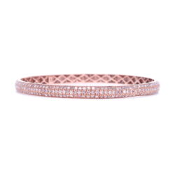 Closeup photo of Tyre Bangle Bracelet with Pink Diamonds Set in 18k Rose Gold