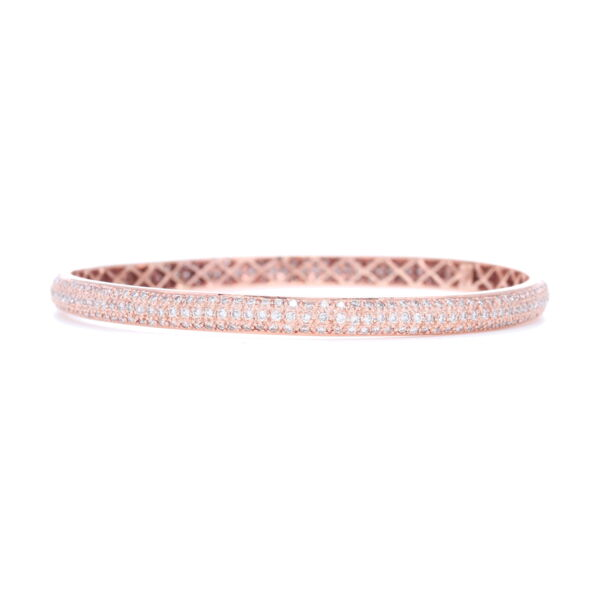 Closeup photo of Tyre Bangle Bracelet with White Diamonds Set in 18k White Gold (Pink Rhodium)