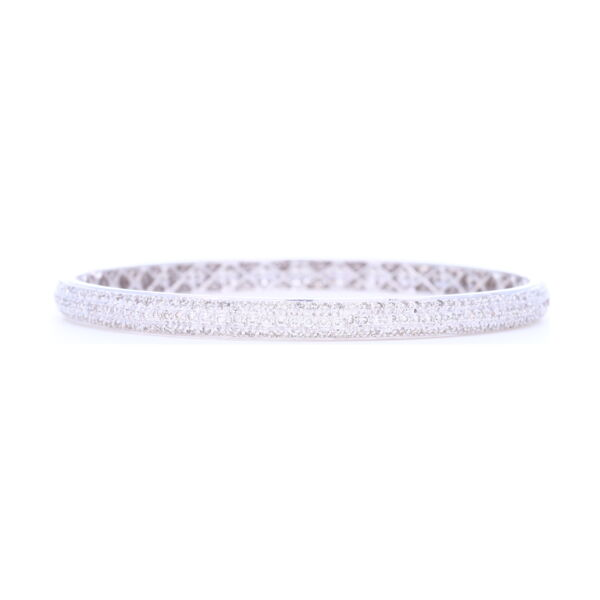 Closeup photo of Tyre Bangle Bracelet set with White Diamonds in 18k White Gold