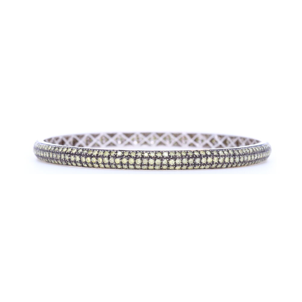 Tyre Bangle Bracelet with Green Diamonds set in 18k White Gold