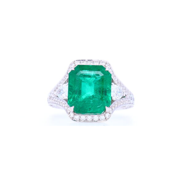 Closeup photo of Certified Zambian Emerald Diamond Ring in 18K White Gold with Pear Side Diamonds