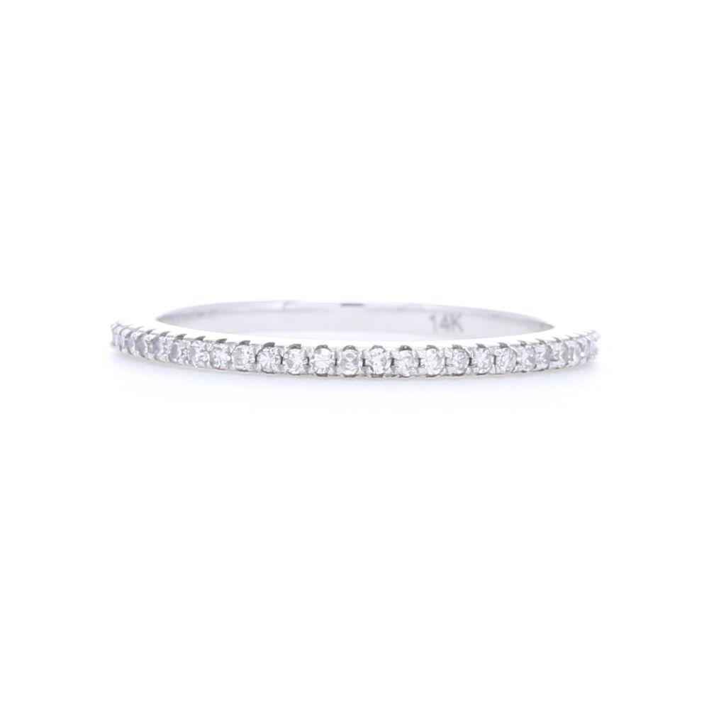 14k White Gold, White Brilliant Cut Diamond Eternity Petite Stack Ring Band