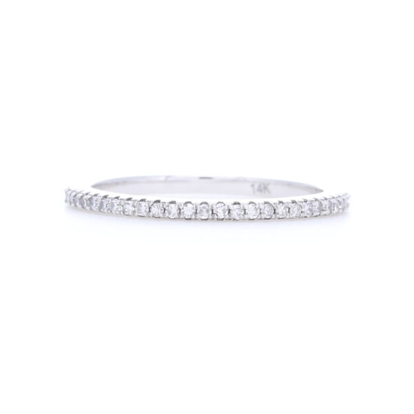 Closeup photo of 14k White Gold, White Brilliant Cut Diamond Eternity Petite Stack Ring Band