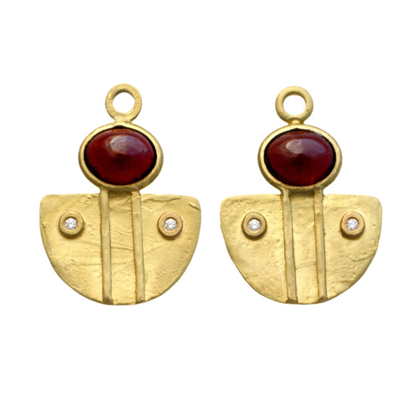Closeup photo of 18K Cabuchon Shield Earring Charms - Garnet and Diamond