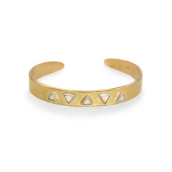 Closeup photo of 5 Stone Raw Diamond Cuff Bracelet