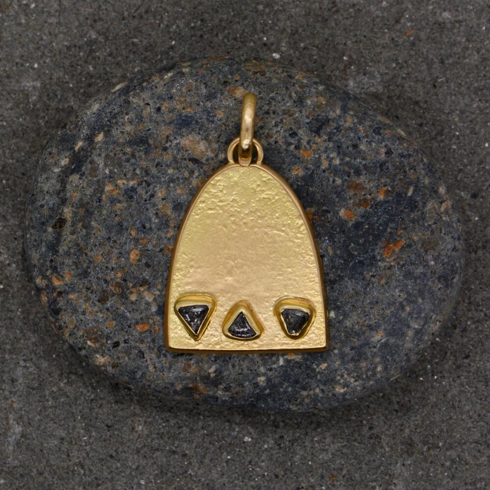 Image 2 for 3 Stone Raw Diamond Dome Pendant