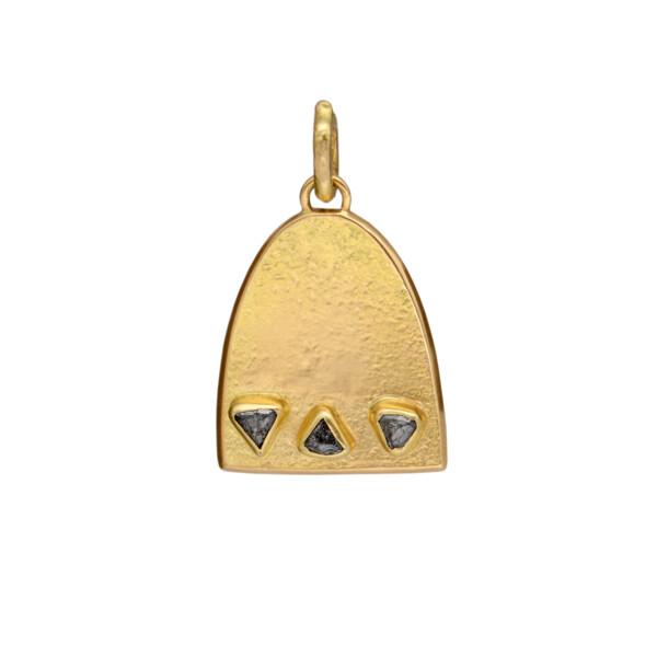 Closeup photo of 3 Stone Raw Diamond Dome Pendant