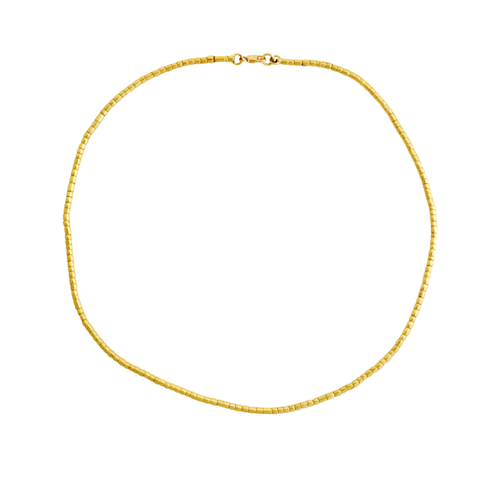 """17.5"""" Hand Forged Gold Jima Necklace"""