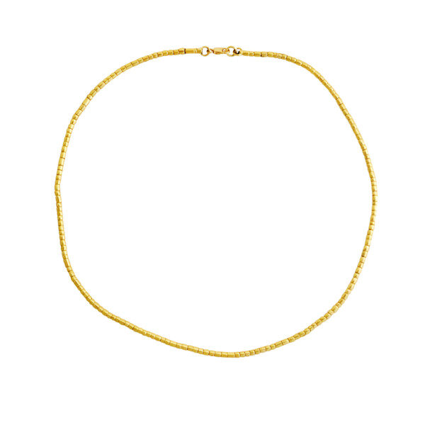 """Closeup photo of 17.5"""" Hand Forged Gold Jima Necklace"""