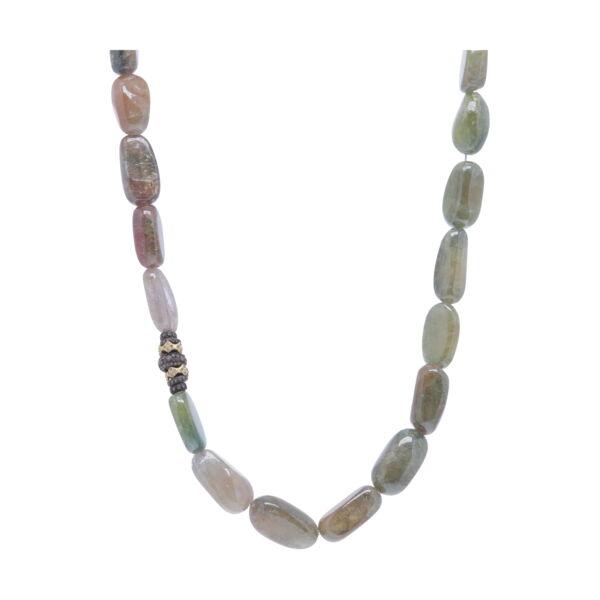 Closeup photo of Umbra Sapphire Beaded Necklace