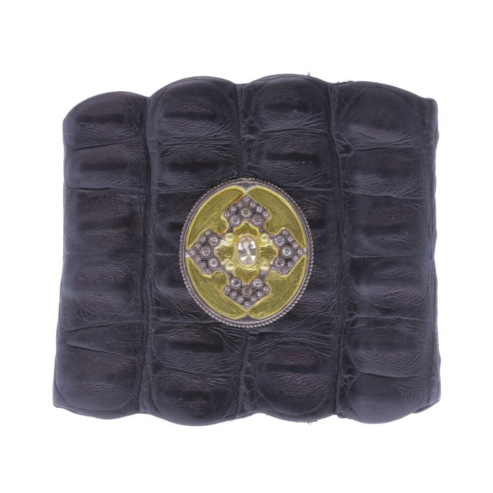Caiman Crocodile Black Cuff - 13977