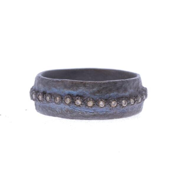 Closeup photo of Wide Artifact Stack Ring - 09736