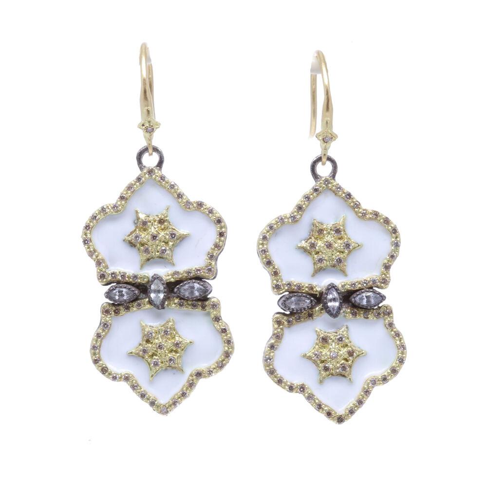 White Double Padlock Earrings