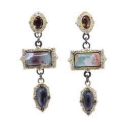 Closeup photo of Three Stone Dangle Earrings