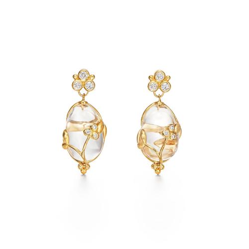Closeup photo of 18K Vine Amulet Earrings