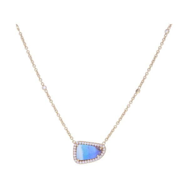 Closeup photo of Diamond Halo Mischa Boulder Opal Pendant Necklace