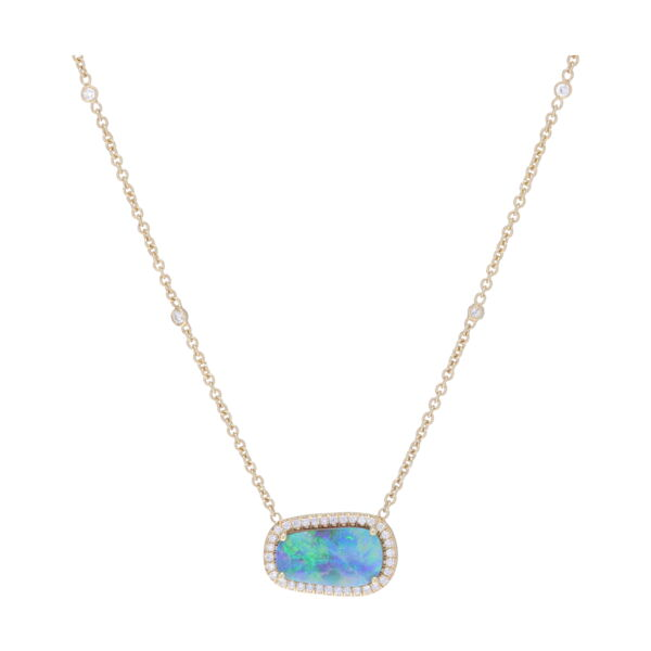 Closeup photo of Layla Opal Diamond Halo Pendant Necklace