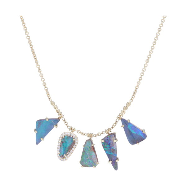 Closeup photo of Boulder Opal Fringe Necklace