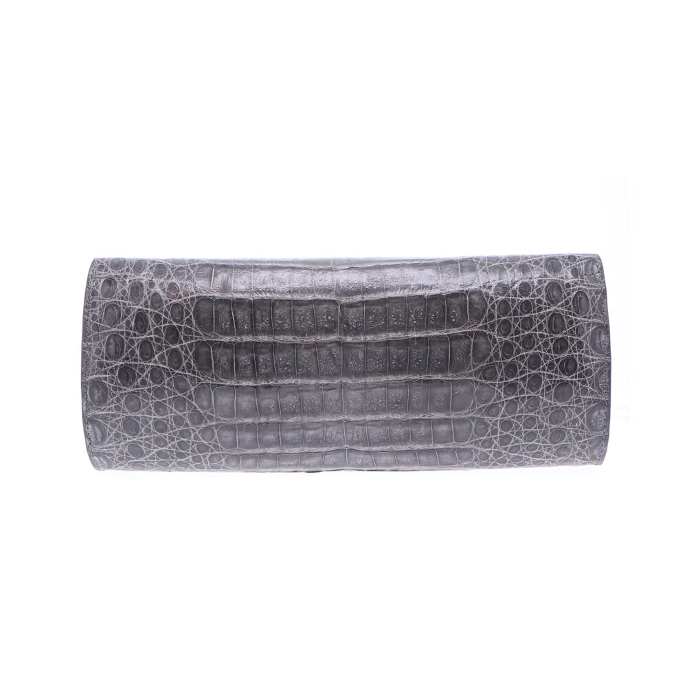 Grey Cayman Crocodile Day Clutch